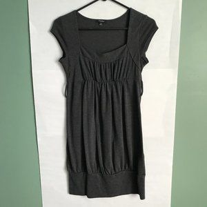 Long Grey Top Dress Belted Ruched comfortable knit